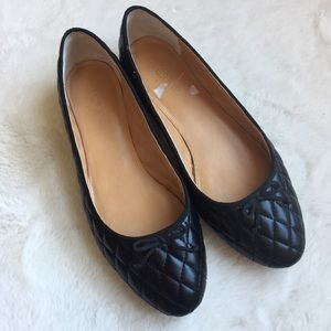 J. Crew Quilted Black Faux Leather Ballet Flats
